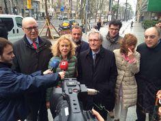 "Inauguración ""nueva"" Avenida Diagonal. Foto: Alcalde de Barcelona, Xavier Trias; Pau López Barceló, director Pilma; representantes de Asoaciación Barcelona Diagonal."