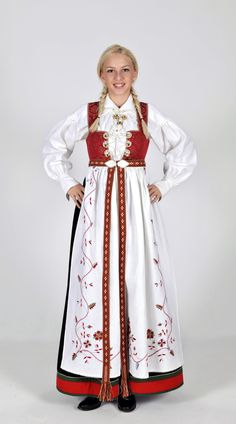 Regional Versions of Bunad, Norwegian Traditional Outfit Happy Birthday, Norway of May) Mrs Claus Outfit, Mrs Claus Dress, Norway Culture, Norwegian Clothing, Costumes Around The World, Viking Clothing, Santa Suits, Ethnic Dress, Medieval Fashion