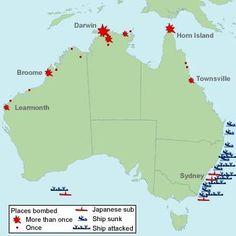 Locations of all attacks on Australia in WW2