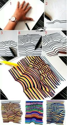 Learn how to draw a Hand Illusion. Super easy and a fun craft for kids! Learn how to draw a Hand Illusion. Super easy and a fun craft for kids! Crafts To Do, Crafts For Kids, Paper Crafts, Room Crafts, Daycare Crafts, Summer Crafts, Summer Fun, Crafts For Rainy Days, Teen Arts And Crafts