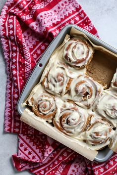 Whole Wheat Gingerbread Cinnamon Rolls are a must this holiday season. Topped with a greek yogurt cream cheese frosting your family will love. Dairy-free friendly recipe! See recommendations in recipe page.
