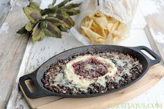 Raspberry Chipotle Black Bean Dip - TRY this recipe in appetizer size puff pastry servings