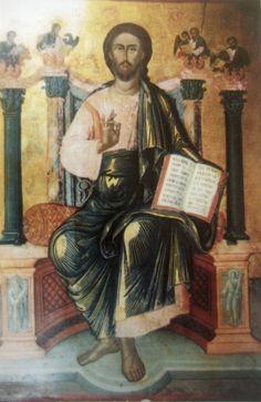 Ο Χριστός ως Παντοκράτωρ. Από το δεσποτικό του κατεστραμμένου ναού του Αγίου Αντωνίου. (1794). Έργο του  Βασιλείου Αρκελέ.
