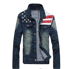 Men's New Fashion Denim Jacket Casual Slim Long Sleeve Coat