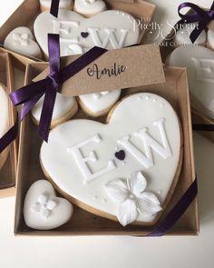 White hydrangea heart monogram cookie wedding favours Kraft box