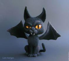 Купить Летучий кот - черный, черный кот, хеллоуин, Хэллоуин, halloween, летучая мышь, жуть
