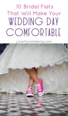Stay comfy but cute on your wedding day with these 10 pairs of bridal flats that are easy on your feet yet totally beautiful! Check them out!