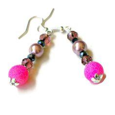 Pink Black Dangle Earrings/ Fuchsia Drop Earrings/ by ALFAdesigns, $11.99