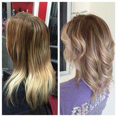 Warm brunette rooted cool blonde ombre by @amy_ziegler #askforamy#versatilestrands