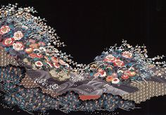 black kimono fabrics pattern