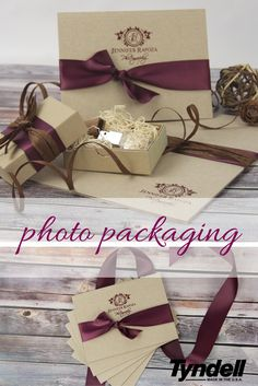 Photo packaging inspired by Fall colors; kraft photo case, portrait box and Crystal Flash Drive USB kit with foil imprinting/laser engraving, raffia, and satin ribbon (Photo packaging for professional photographers, photo delivery, senior pictures, family portraits, newborn pictures, wedding pictures, custom photo packaging)