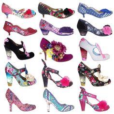 Irregular Choice New Ladies Floral Polka Dot Vintage Retro 50s Style Heels Shoes