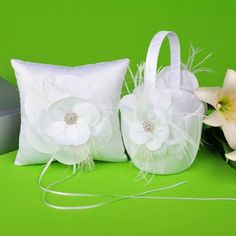 Amazon.com: Remedios Boutique Feather Flower White Satin Flower Girl Basket and Ring Pillow: Health & Personal Care