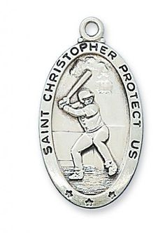 """Catholic Boys or Mens Necklace with 1-2/16"""" Sterling Silver St. Christopher Medal Sports Baseball with 24"""" Rhodium Chain in Gift Box MV001 http://www.amazon.com/dp/B003HLXNG2/ref=cm_sw_r_pi_dp_zkqBub0ZS58X0"""