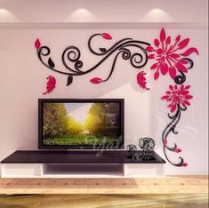 Acrylic crystal flower vine wall stickers living room wall decoration Removable sticker Creative home decor tree butterfly Creative Wall Painting, 3d Wall Painting, Creative Walls, Wall Art, Ceiling Design, Wall Design, Wall Stickers Home Decor, Paint Designs, Flower Wall