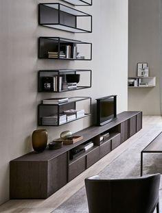 Grado° Bookshelf - Accessories - Molteni&C Glass Bookcase, Living Tv, Bookshelves In Living Room, Cabinet Shelving, Interior Design Elements, Sideboard Furniture, Room Interior, Furniture Design, Home Decor