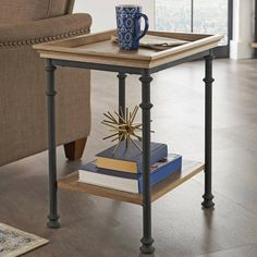 Better Homes & Gardens River Crest Side Table, Rustic Oak Finish Image 2 of 5 Garden Side Table, Rustic Side Table, Sofa Side Table, Metal Side Table, Rustic Coffee Tables, Table Tray, White Metal Chairs, Coffee Table Metal Frame, Sofa Frame