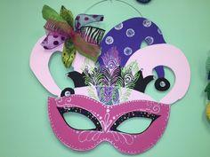 Mardi Gras painted mask Door Hanger.