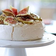 Figs, Ginger Syrup and Crushed Pistachio Pavlova