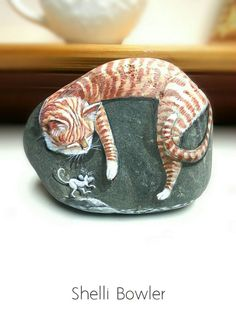 Couchage chat Tabby comme White Mice par PaintedRocksbyShelli