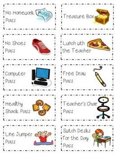 Classroom Coupons for Rewards K-4...like these, maybe minus the no shoes!