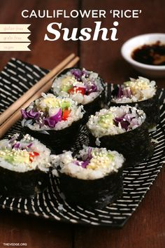 Cauliflower 'Rice' Sushi - No grains, all veggies! #grainfree #glutenfree #vegan