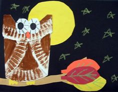 folded paper plate owls