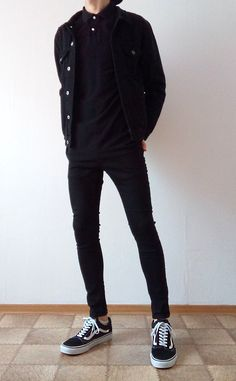 vans old skool black skinny jeans boys guys outfit Stylish Mens Outfits, Cool Outfits, Casual Outfits, Men Casual, Fashionable Clothes For Guys, Men's Outfits, Casual Styles, Stylish Clothes, Fashion 90s