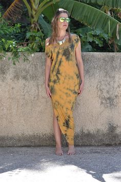 Maxi Tie Die GOWN Assymetric Draped Strech Jersey by NikiZaimi, $95.00