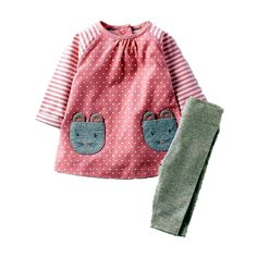 Sweet Appliqued Mouse Pink Long-sleeve Dress with Gray Socks to School Girl Outfit, School Outfits, Kids Outfits, Pink Long Sleeve Dress, Grey Socks, Cute Pink, Baby Patterns, Outfit Sets, Baby Kids