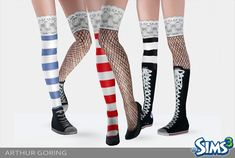 Mod The Sims - Stripped Netting Stocking Accessory For AF/YA