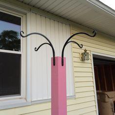 DIY Bird Feeder Post Cedar Posts, Great Recession, Diy Bird Feeder, Metal Baskets, Exterior Paint, Wind Chimes, Garden, Outdoor Decor, Projects