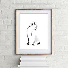 Minimalist cat painting art print giclee print from original