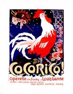Red Rooster Cocorico Opera Vintage Poster Fine Art Giclee Print