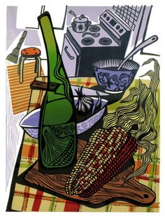 A KITCHEN TABLE linocut by WingedLion on Etsy, $320.00