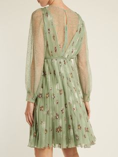 Floral-print lace-trimmed silk-chiffon dress Valentino Sale Looking For With Mastercard Cheap Online Hot Sale Cheap Online Outlet Where To Buy ehMKUO