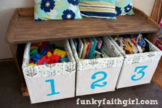 budget organization--tutorial: DIY plywood storage boxes, covered with drop cloth canvas, fabric-trimmed top, and DIY painted numbers