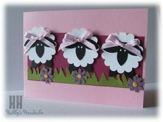 Sheep = scallop circle punch, five petal flower punch (will have to improvise here, maybe use the word window punch), Boho blossom punch, hand-cut grass Arte Punch, Easter Crafts, Crafts For Kids, Sheep Cards, Punch Art Cards, Paper Punch, Kids Cards, Baby Cards, Creative Cards
