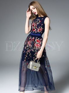 Shop for high quality Sleeveless Patch Embroidery Maxi Dress online at cheap prices and discover fashion at Ezpopsy.com