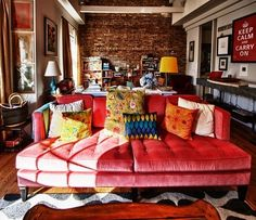 love this living room–a muted red couch plus colorful pillows, all against exposed brick wall. love this living room–a muted red couch plus colorful pillows, all against exposed brick wall. Cool Couches, Red Sofa, Interior, Fabulous Sofa, Living Room Colors, Red Couch Living Room, Home Decor, Couches Living Room, Red Couch