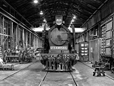Old steam powered train.