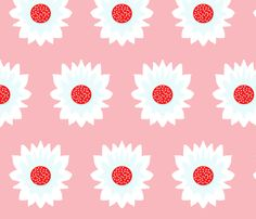 A Flower Named Alice (on pink) fabric by majoranthegeek on Spoonflower - custom…