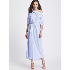 SheIn(sheinside) Pinstripe Asymmetrical Off Shoulder Self Tie Dress (58 RON) ❤ liked on Polyvore featuring dresses, blue, maxi dresses, striped off the shoulder dress, maxi shirt dress, blue off shoulder dress and stripe maxi dress
