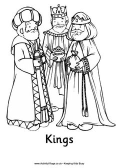 Print this Nativity colouring page of the three kings or three wise men, part of a complete set of Nativity colouring pages at Activity Village for younger children Nativity Coloring Pages, Bible Coloring Pages, Coloring Sheets, Coloring Pages For Kids, Adult Coloring, Coloring Books, Christmas Nativity, Christmas Art, Simple Christmas
