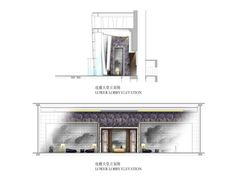 Lower lobby elevation for the Four Seasons Hotel Guangzhou, designed by HBA/Hirsch Bedner Associates.