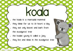 This set of 10 posters is the perfect addition to your classroom when learning about Australia and the animals that live there.Each poster features a picture of the animal and short interestin kindergarten