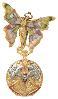 1900s - This charming pendant watch features a butterfly-woman brooch with outstretched wings, decorated with enamel, from which hangs a matching pocket watch with a diamond at its centre.