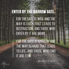 """Jesus himself affirms that our journey in this world are filled with difficulties and sacrifices. It is a road that denies ourselves, a road that doesn't conform to the patterns of this world. It is a road less traveled. But take heart, Jesus is with us when He said, """"Enter by the narrow gate"""". #preaching #bookseries #bookofMatthew #enter #narrowgate #difficulties"""