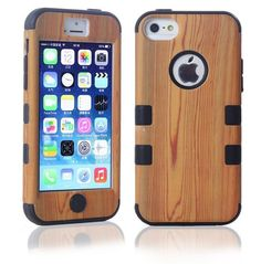 iPhone 5C Case, LERBO Hard Wood With Silicone Design Hybrid case for iphone 5c(Black)