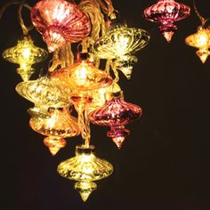 Kasbah String of 20 Handmade Glass Lanterns Inspired by Morocco LED Lights Art Nouveau, Makeup Vanity Mirror With Lights, Led Party Lights, Indoor String Lights, Light String, Light Chain, Metal Chandelier, Moroccan Style, Moroccan Party